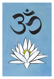 Lotus Meditation AUM Blue Poster