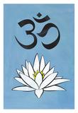 Lotus Meditation AUM Blue - Afiş