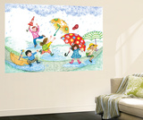 Umbrella Dance - Turtle Wall Mural by Marsha Winborn