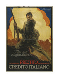 Italian Advertisement for War Bonds, Printed by Richter E Co., Naples, 1918-19 Giclee Print by Mario Borgoni