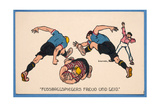 'Fussballspielers Freud Un Leid', Postcard Depicting Footballers Giclee Print by E. Kutzer