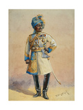Hon Major-General H.H. Maharaja Sir Pratap Singh Bahadur, Illustration for 'Armies of India' by… Giclee Print by Alfred Crowdy Lovett