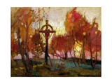 Landscape with a Cross Giclee Print by Tadeusz Makowski