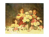 Arranging the Peonies, 1902 Giclee Print by George Carline