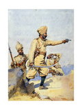 Soldiers of the 24th Punjabis Malikdin Khel (Afridi) and Subadar, Jay Sikh, Illustration for… Giclee Print by Alfred Crowdy Lovett