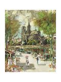 On the Banks of the Seine, the Notre Dame in the Distance Giclee Print by James Kay