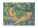 Girls Sitting by the Water, c.1920 Giclee Print by Otto Muller or Mueller