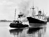 Steel and Bennie's Tug 'Brigadier' in Action, 1955 Photographic Print