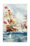 When Blake Swept the Seas: a Battle Between Admiral Blake (1599-1657) and Van Tromp (1598-1653)… Giclee Print by Charles Edward Dixon
