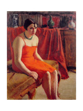 Seated Woman in a Red Dress, 1929 Giclee Print by Roderic O'Conor