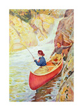 Couple Fishing Near a Waterfall Giclee Print by Philip Russell Goodwin