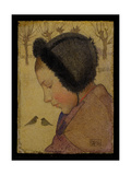 Head of a Young Girl in a Fur Hat Giclee Print by Marianne Stokes