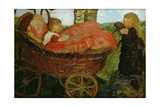 Little Girl Pushing a Pram, 1904 Giclee Print by Paula Modersohn-Becker