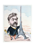 Gustave Eiffel (1832-1923) with His Best known Construction, the Eiffel Tower, Engraved by Forest… Giclee Print by Charles Gilbert-Martin