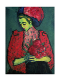 Young Girl with Peonies, 1909 Giclee Print by Alexej Von Jawlensky