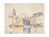 French Port of St. Tropez, 1914 Gicléetryck av Paul Signac