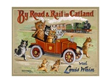 By Road and Rail in Catland, 20Th Giclee Print by Louis Wain