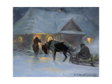 Winter Evening in Front of a Country House, 1921 Giclee Print by Jozef Ryszkiewicz
