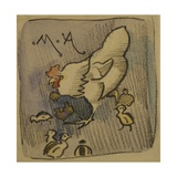 White Hen and Chickens, c.1901 Giclee Print by Joseph Crawhall