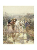 Horses and Cart Giclee Print by Harry Fidler