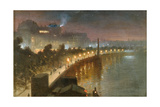 The Embankment and Cleopatra's Needle at Night, London, c.1910 Giclee Print by George Hyde Pownall