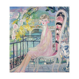 Portrait of Dolly Davis on a Balcony in Front of the Old Bridge of Alma Giclee Print by Jacqueline Marval
