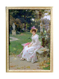 Young Woman Waiting on a Park Bench with a Parasol Giclee Print by Wilhelm Menzler