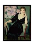 Portrait of Rene Ivanovna Notgaft (B.1880) 1914 Giclee Print by Boris Mihajlovic Kustodiev