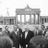 Ludwig Erhard and Willy Brandt, Mayor of West Berlin, Inspect the Sector Border at Brandenburg… Photographic Print by German School