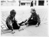 Two Boys Playing Soldiers in a Paris Street, 1914 Photographic Print by Jacques Moreau