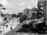 Street Scene in Barbados, Possibly the Main Road Out of Bridgetown to Eagle Photographic Print by Harry Hamilton Johnston