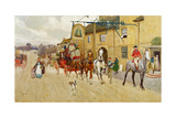 The Great North Road, the Bell at Stilton, 1902 Giclee Print by Cecil Aldin