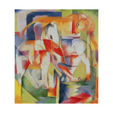 Elephant, Horse and Cow, 1914 Giclee Print by Franz Marc