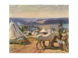 Camp at Malbuison, Near Pontarlier, c.1918 Giclee Print by Sir Alfred Munnings