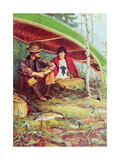 Couple Taking Shelter from the Rain under a Boat Giclee Print by Philip Russell Goodwin