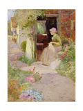 A Girl Sewing at the Door of a Cottage, 1906 Giclee Print by Thomas Mackay