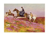 Lady Currie with Her Sons Bill and Hamish Hunting on Exmoor Giclee Print by Cecil Charles Windsor Aldin