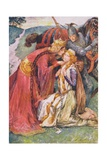 Queen Guinevere Welcomes Enid, Illustration for 'Children's Stories from Tennyson' by Nora Chesson Giclee Print by John Henry Frederick Bacon
