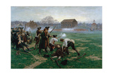 The Battle of Lexington, 19th April 1775, 1910 Giclee Print by William Barnes Wollen