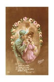 Postcard Depicting a French Soldier and His Lover, 1914-18 Giclee Print by  French School