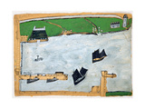 Mount's Bay with St. Michael's Mount Giclee Print by Alfred Wallis