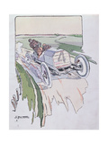 Camille Jenatzy in His Mercedes Competing in the Gordon-Bennett Race in 1903, c.1910 Giclee Print by Ernest Montaut