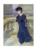 Madame Renoux on the Steps of the Trinity Church, 1904 Giclee Print by Jules Ernest Renoux
