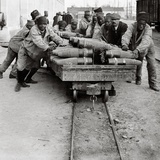 Senegalese Men Pushing a Wagon Full of Shells, Toulon, 1916 Photographic Print by Jacques Moreau