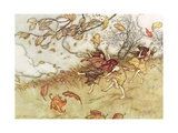 """Autumn Fairies"" from 'Peter Pan in Kensington Gardens' by J.M. Barrie, 1906 Gicleetryck av Arthur Rackham"