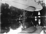 The Airship of Alberto Santos-Dumont (1873-1932) Landing in Bois de Boulogne in the Rothschild… Photographic Print by Valerian Gribayedoff