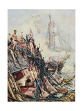 Crippled But Unconquered: The 'Belleisle' at the Battle of Trafalgar, 21st October 1805, from… Giclee Print by William Lionel Wyllie