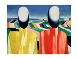 Two Peasants Giclée-tryk af Kasimir Malevich