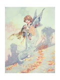 Angel Scattering Autumn Leaves Giclee Print by Charles Robinson