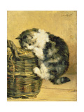 Cat with a Basket Giclee Print by Charles Van Den Eycken